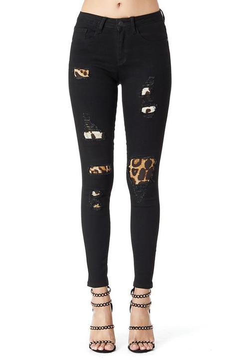 Black Leopard print Patch Skinny - Chica Boutique NY