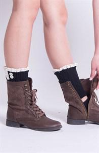 Women's Cable Knit Boot Cuffs with Vintage Lace and Buttons