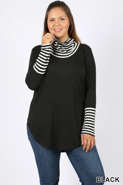 Plus Style Striped Cowl Neck Top