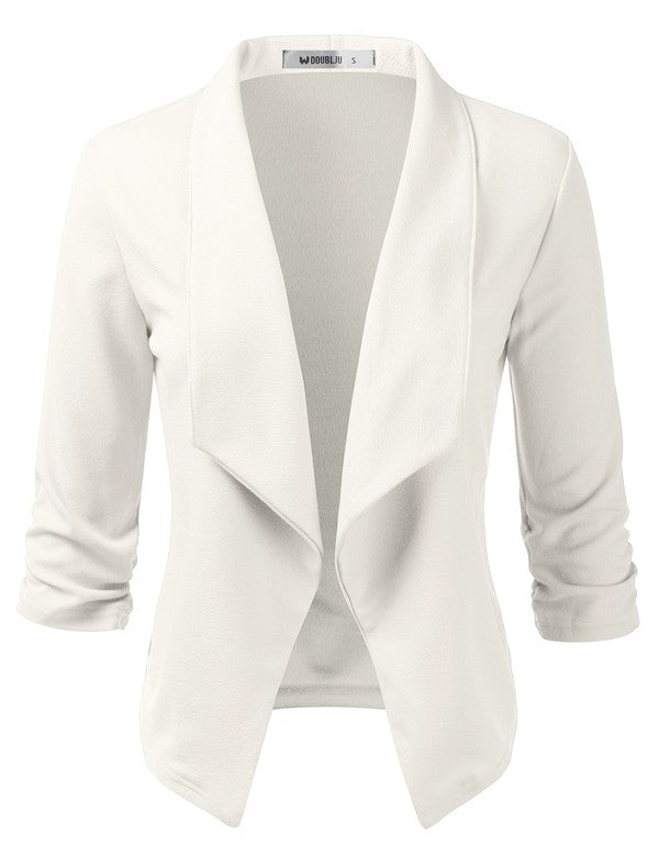 Flirty 3/4 Sleeve Open Front Blazer Jacket Ivory - Chica Boutique NY