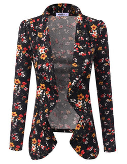 Classic Draped Open Front Blazer Floral - Chica Boutique NY