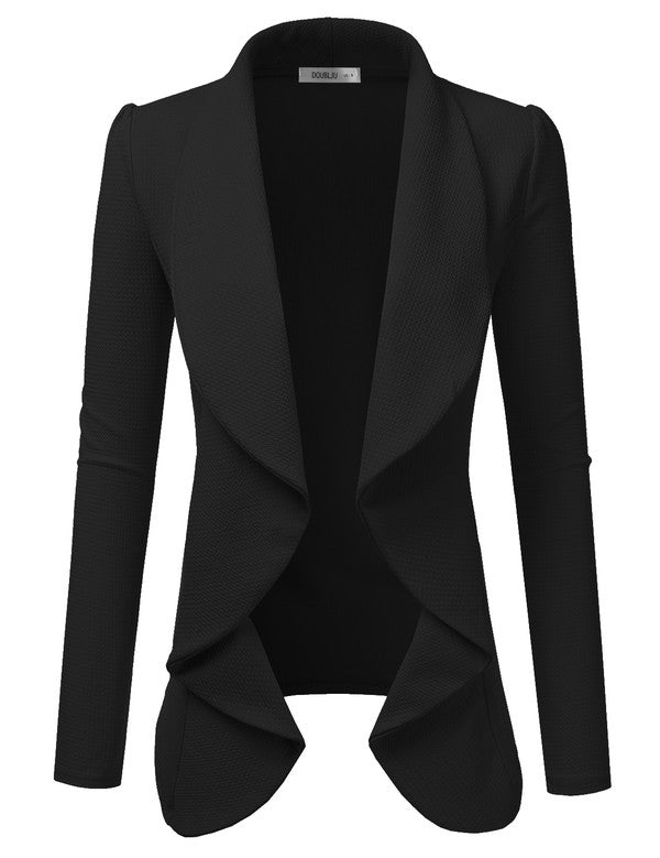 Classic Draped Open Front Blazer Black - Chica Boutique NY
