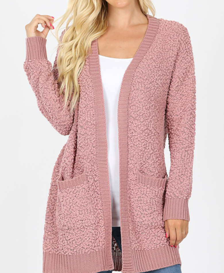 X Ash Rose Cable Popcorn Cardigan