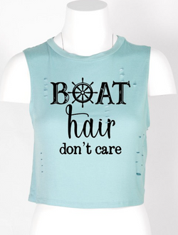 Boat Hair Don't Care Crop Tee - Chica Boutique NY