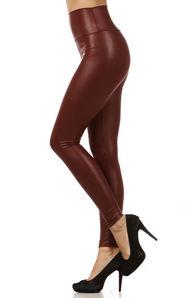 Faux Leather Pants Burgundy