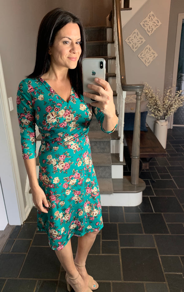 Floral A Line Dress Teal - Chica Boutique NY