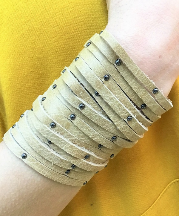 Mocha Studded Leather Cuff