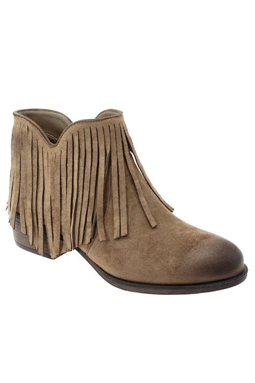 Rosier Taupe Fringe Booties