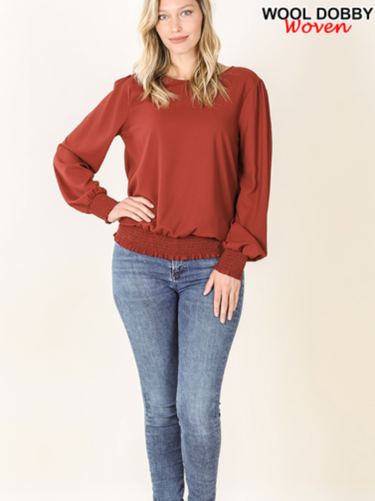 Smocked Hem Blouse - Fire Brick