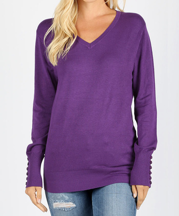 V-neck sweater with sleeve button detail