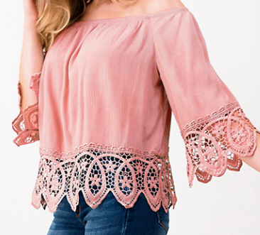 Lace Trim Boho Top Mauve - Chica Boutique NY