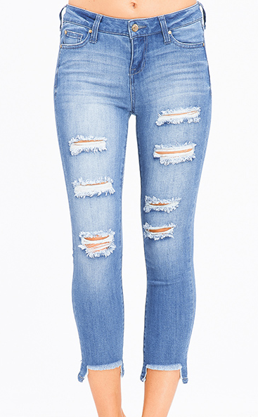 Frayed Hem Distressed Cropped Jeans - Chica Boutique NY