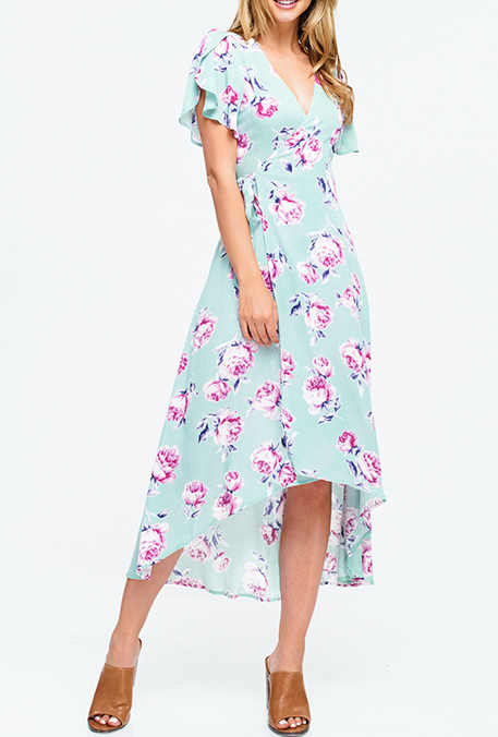 BOHO HIGH LOW FLORAL WRAP DRESS W/PETAL SLEEVE - Chica Boutique NY