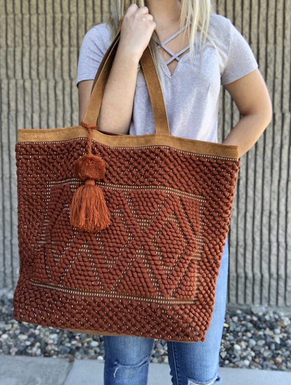 Pom Woven Tote Rust Brown