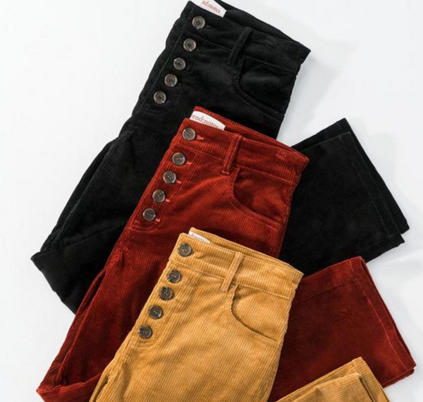 Black Corduroy Button Pants