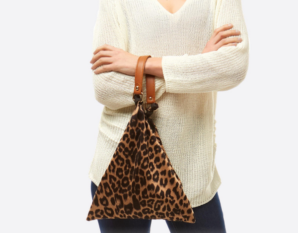 W Leopard Top Handle Tote