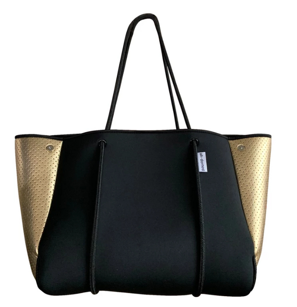 Large Neoprene Black & Gold Tote