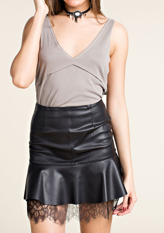 Lacey Faux Leather Skirt
