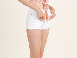 Cream Lace Denim Shorts