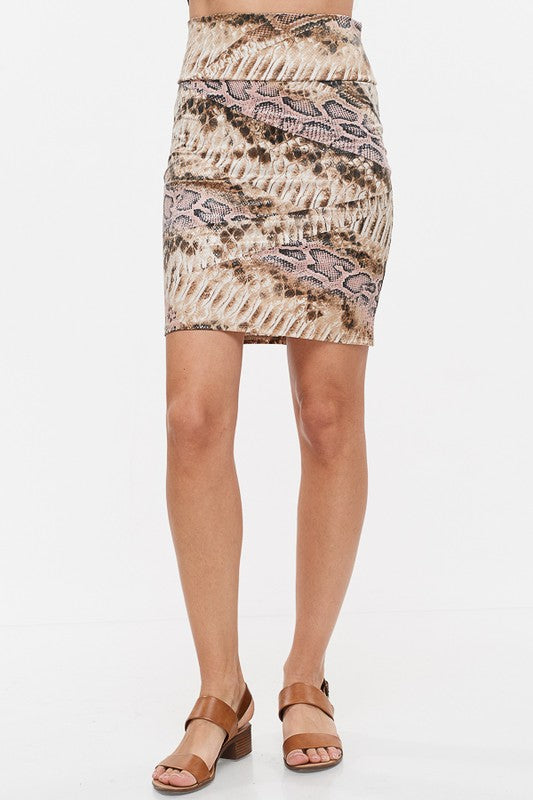 High Waisted Snakeskin Skirt - Chica Boutique NY