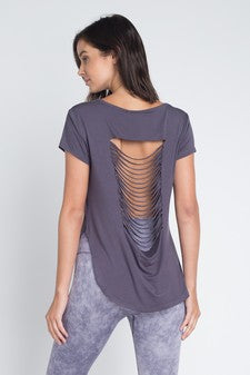 Slashed-Back Tee Dark Grey
