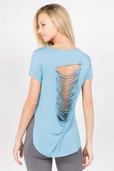 Slashed-Back Tee Vintage Blue