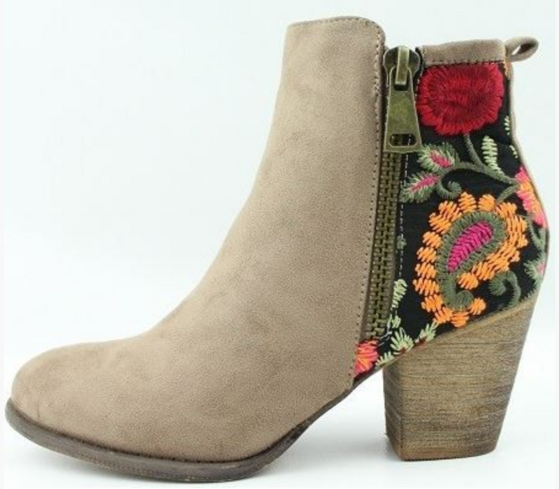 Embroidered Booties - Chica Boutique NY
