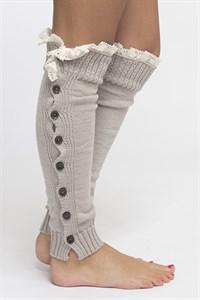 Women's Button Down Leg Warmers with Vintage Lace