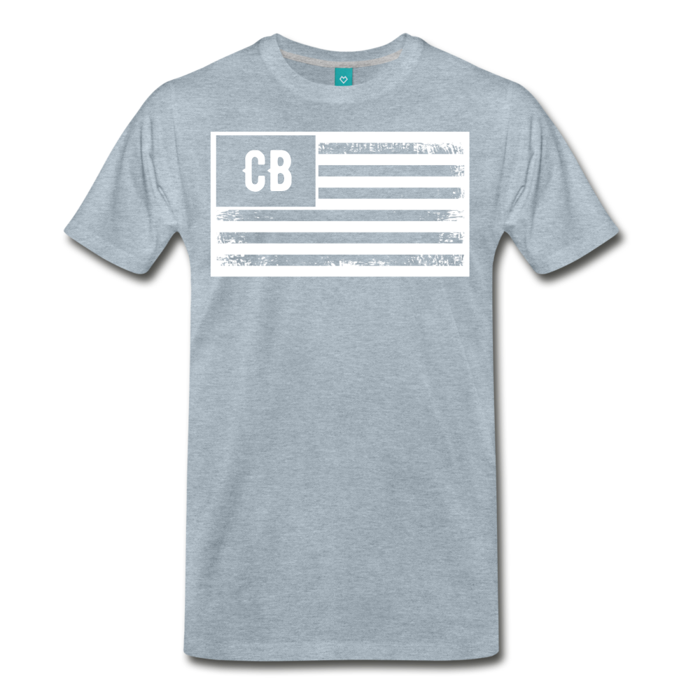Personalized American Flag Initials T-Shirt - heather ice blue