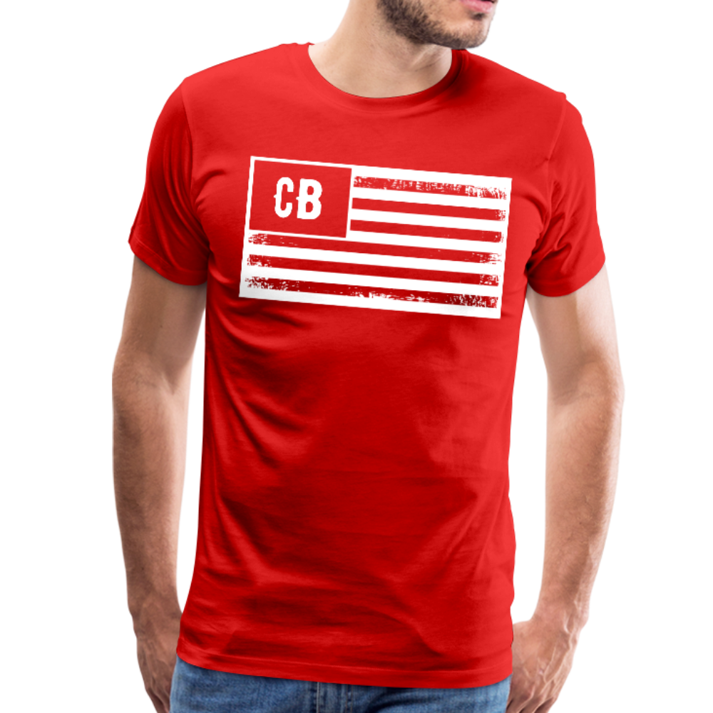 Personalized American Flag Initials T-Shirt - red