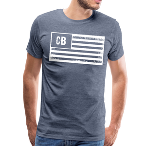 Personalized American Flag Initials T-Shirt - heather blue