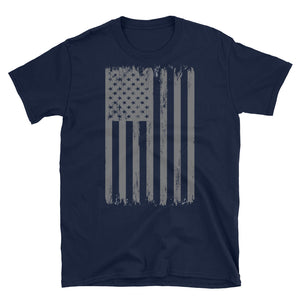American Flag Shirt - Silver Distressed USA