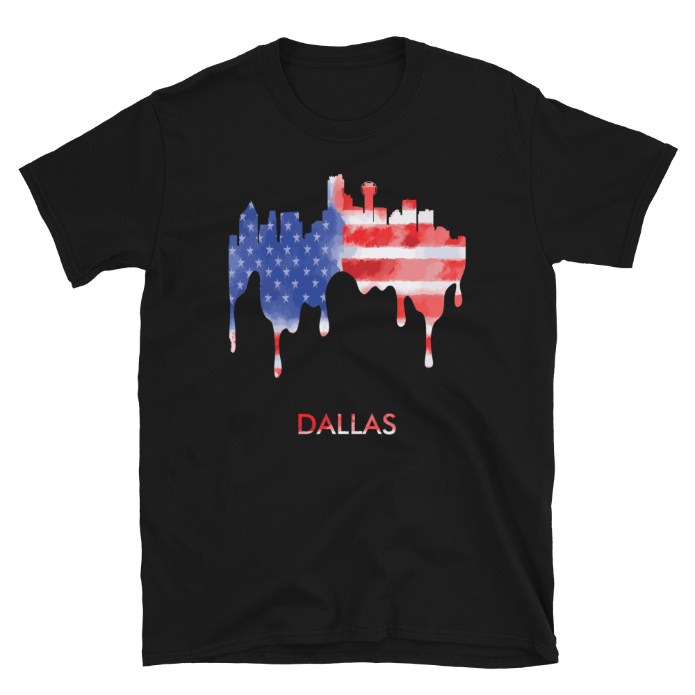 Dallas Texas American Flag Skyline T-Shirt Gift