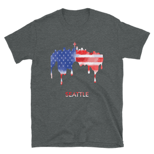 Seattle USA American Flag T-Shirt Gift