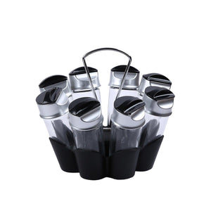 Trudeau Glass Bottle Flower Spice Rack Set, Set of 8, Black