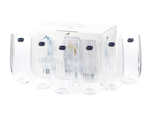 Bohemia Crystal Waterfall Cocktail & Juice Drinking Glass Set, 350 ML, Set of 6pcs,