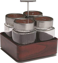 Load image into Gallery viewer, JVS Revolving Organiser Treo Jars Mahogany, 310 ml , Multicolour, 4 jars-1 stand-1 handle