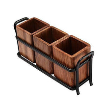 Load image into Gallery viewer, JVS Trio Cutlery Holder Brown in Wood Material with Black Stylish Iron Stand