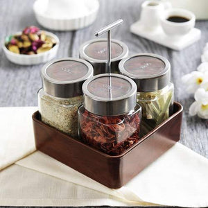 JVS Revolving Organiser Treo Jars Walnut, 310 ml , Multicolour, 4 jars-1 stand-1 handle