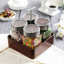 Load image into Gallery viewer, JVS Revolving Organiser Treo Jars Walnut, 310 ml , Multicolour, 4 jars-1 stand-1 handle