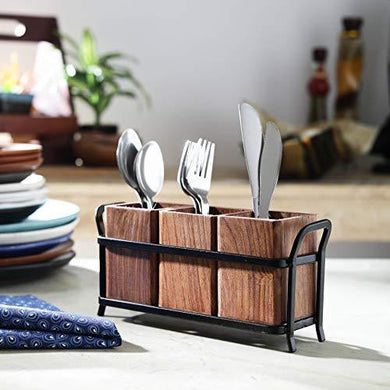 JVS Trio Cutlery Holder Brown in Wood Material with Black Stylish Iron Stand
