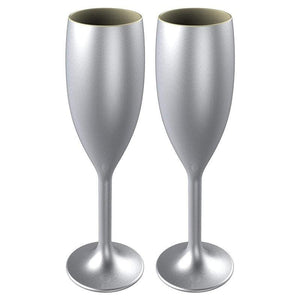 STALLION BARWARE Unbreakable Food-Safe Polycarbonate Flutes, 170 ml,  Metallic Silver