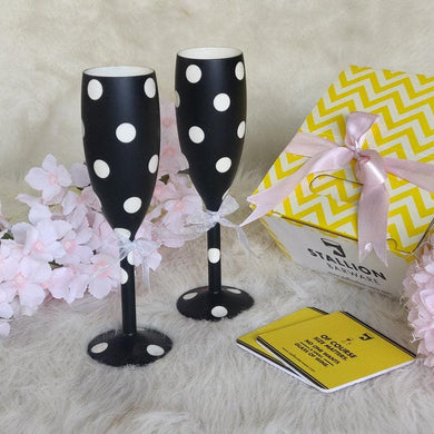 STALLION BARWARE Unbreakable Food-Safe Polycarbonate Flutes, 170 ml,  Black & White Polka Dots
