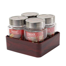 Load image into Gallery viewer, JVS Counter Organiser Treo Jars Mahogany, 310 ml , Multicolour, 4 jars-1 stand - SmartServe Houseware