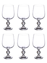 Load image into Gallery viewer, Bohemia Crystal Non Lead Crystal Claudia Wine Drinking Glass Set, 340 ml, Transparent, Set of 6 Pieces