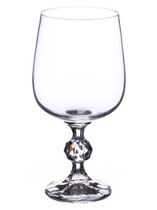 Bohemia Crystal Non Lead Crystal Claudia Wine Drinking Glass Set, 340 ml, Transparent, Set of 6 Pieces