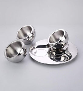 Sanjeev Kapoor Stainless Steel Bowl and Tray Set, 3 Bowl and 1 Tray |