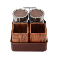 Load image into Gallery viewer, JVS Revolving Organiser with 2 Treo Jars (310 ml) & 2 Cutlery Holders