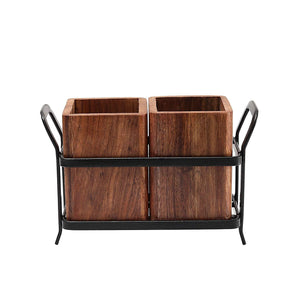 JVS Duo Cutlery Holder Brown in Wood Material with Black Stylish Iron Stand - SmartServe Houseware