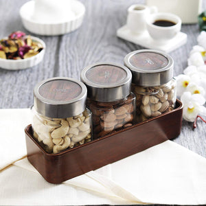 JVS Counter Organiser Treo Jars Walnut, 310 ml , Multicolour, 3 jars-1 stand